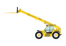 Telescopic handler. Equipped with fork on a white background. Side view. Flat vector Stock Photos