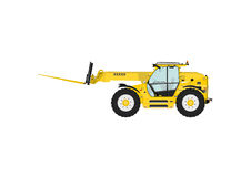 Telescopic handler. Equipped with fork on a white background. Side view. Flat vector Royalty Free Stock Photo