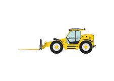 Telescopic handler. Equipped with fork on a white background. Side view. Flat vector Stock Photography