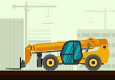 Telescopic handler forklift. Telescopic handler with fork industrial crane with construction background. Side view crane vector illustration Stock Photos