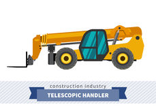 Telescopic handler forklift. Telescopic handler with fork industrial crane. Side view crane isolated vector illustration Royalty Free Stock Photography