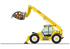 Telescopic handler. With log and pipe grapple on a white background. Flat vector Stock Photo