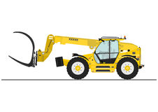 Telescopic handler. With log and pipe grapple on a white background. Flat vector Royalty Free Stock Photo