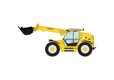 Telescopic handler. On a white background. Flat vector Side view. Flat vector Stock Images