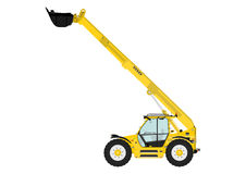 Telescopic handler. On a white background. Flat vector Side view. Flat vector Stock Image