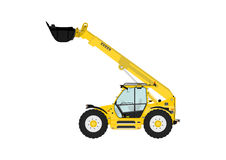 Telescopic handler. On a white background. Flat vector Side view. Flat vector Royalty Free Stock Photo