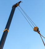 Telescopic mobile crane boom with hook Stock Image