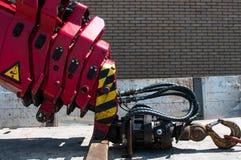 Telescopic Red Truck Crane Hook Royalty Free Stock Image