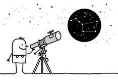 Telescopio & costellazione Fotografia Stock