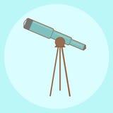 Telescopio azul: historieta ilustración del vector