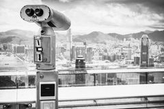Telescopio binoculare pagato in Hong Kong Immagini Stock Libere da Diritti