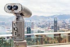 Telescopio binoculare turistico, città di Hong Kong Immagine Stock Libera da Diritti