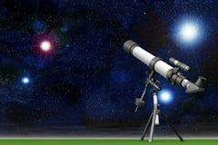 Telescopio con un cielo pieno delle stelle Fotografie Stock
