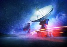Telescopio de radio del espacio profundo Foto de archivo libre de regalías