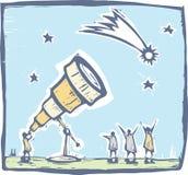 Telescopio e cometa Immagini Stock