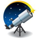 Telescopio e una stella nel cielo Fotografie Stock Libere da Diritti