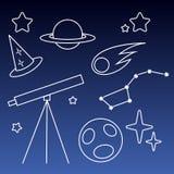 Telescopio e vantaggio e pianeta e cometa con la linea notturna royalty illustrazione gratis