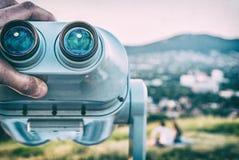 Telescopio facente un giro turistico, calvario in Nitra, filtro analogico immagini stock libere da diritti