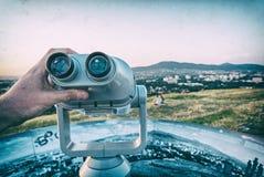 Telescopio facente un giro turistico, calvario, Nitra, filtro analogico fotografie stock libere da diritti