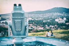 Telescopio facente un giro turistico, calvario in Nitra, filtro analogico fotografia stock