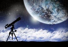 Telescopio nell'ambito di un lanscape dello spazio royalty illustrazione gratis