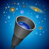 Telescopio y planetas, estrella Foto de archivo