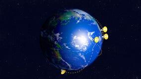 Telescopios de radio conectados en red sobre la tierra ilustración del vector