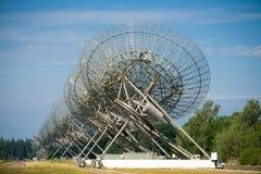 Telescopios de radio en Westerbork, los Países Bajos Foto de archivo