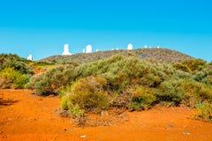 Telescopios del observatorio astronómico Izana, España foto de archivo libre de regalías