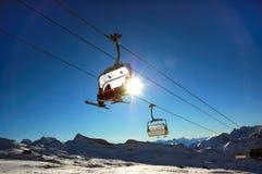 Telesilla del esquí imagen de archivo