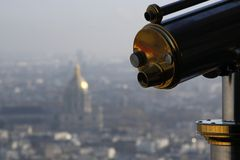 Teleskop i Paris Arkivbilder