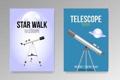 Teleskop mit Entwurfsikone der Plakate des nächtlichen Himmels realistischer lokalisierte lizenzfreie abbildung