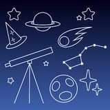 Teleskop och välsignelse och planet och komet med nattlinjen royaltyfri illustrationer