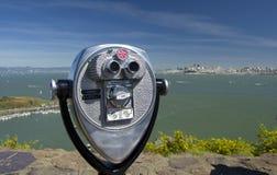 Teleskop przy Vista punktem patrzeje San Fransisco, Hourseshoe zatoka, San Fransisco, Kalifornia, usa Obrazy Royalty Free