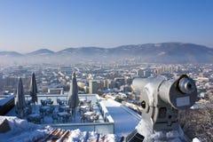 Teleskop und Terrasse über Graz Stockfotografie
