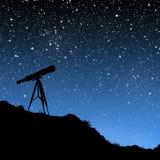 Teleskop unter den Sternen Stockbild