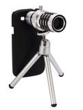 Teleskopisches Linsenzubehör für einen Smartphone Stockfotografie