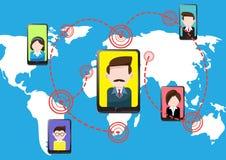 Teletechniczna smartphone pastylka, ludzie i royalty ilustracja