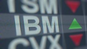 Teletipo de la bolsa de acción de INTERNATIONAL BUSINESS MACHINES IBM Representación editorial 3D stock de ilustración