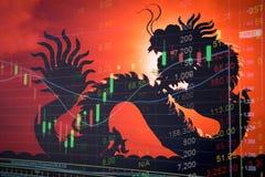 Teletipo del gráfico del mercado de acción de China Imágenes de archivo libres de regalías