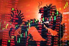 Teletipo del gráfico del mercado de acción de China Imagen de archivo libre de regalías