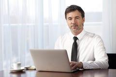 Teletrabajo serio del hombre de negocios En un ordenador portátil imagenes de archivo