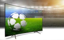 Teletraducción del partido de fútbol Imágenes de archivo libres de regalías