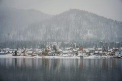 Teletskoye湖在冬天 库存图片