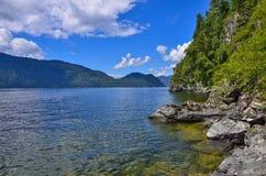 Teletskoye or Golden lake. Altai mountains summer landscape Stock Photography
