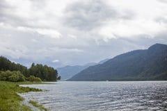 Teletskoye lake. Altai mountains landscape. Stock Photos