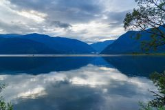 Teletskoye Lake in the morning. View from southern shore. Altai Republic. Russia Stock Photo