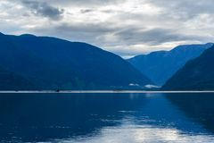 Teletskoye Lake in the morning. View from southern shore. Altai Republic. Russia Stock Photos