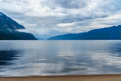 Teletskoye Lake in the morning. View from southern shore. Altai Republic. Russia Royalty Free Stock Photos