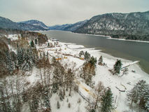 Teletskoye lake at winter. Aerial Royalty Free Stock Photography